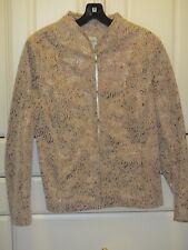 Chicos Womens Size 0 Tan Leather Coat Laser Cut Gold Metallic Lined Tailord NICE
