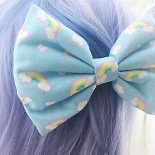 Kawaii Pastel Blue Rainbow & Clouds Handmade Large Hair Bow Hair Clip Fairy Kei