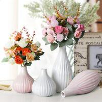 Resin Modern Stripe Flower Pot Plant Office Desk Vase Ornament Home Decorative