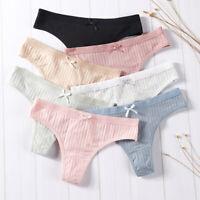 3Pcs Women Cotton Solid Color Thong Low Waist Briefs Panties Lingerie Underwear