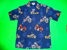 Motorcycle Hawaiian Shirt by Pacific Legend American Chopper Bikes Blue Sz L
