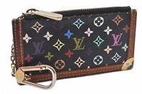 Auth Louis Vuitton Monogram Multicolor Pochette Cles Black Coin Case LV A6596