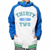 2014 NWT THIRTYTWO SESH 8K SNOWBOARD JACKET $180 royal blue white green hooded