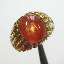 82 - Dekorativer Ring Gelbgold 375 mit Sonnenstein (Aventurin-Feldspat) - 2050