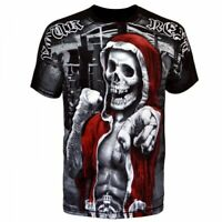 Mens T-shirt Black Short Sleeve Fight MMA Fighters Boxing Muay UFC Skull Winner