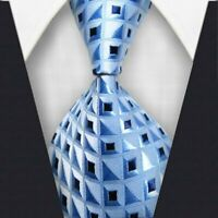 Mens Classic Plaids Tie YellowBLue JACQUARD WOVEN 100% Silk Tie Necktie #LE009