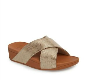 Fitflop 254416 Womens Lulu Cross Wedge Leather Slide Sandal Gold Size 5