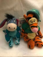 The Disney Store Tigger & Eeyore Mini Bean Bag Plush Lot Of 2 Dress Up Holiday