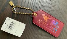 Coach Leather Rexy & Carriage Hangtag Bag Charm Keychain Rainbow Brass 89030 NWT
