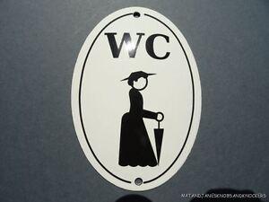 LARGE ANTIQUE STYLE ENAMEL LADY FIGURE WC TOILET DOOR SIGN DRESS HAT UMBRELLA