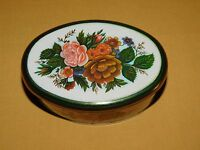 "VINTAGE 6"" LONG MEISTER MADE IN BRAZIL FLOWER TIN *EMPTY*"