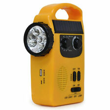 Solar Dynamo Powered Radio Hand Crank AM/FM 5 LED Flashlight USB Phone Charger