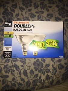 Sylvania Double Life Halogen Flood 2 Pack PAR38 520 Lumens 45w/39w In/Outdoor
