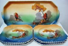 British Anchor Set of Colourful Vintage Serving plates C1945