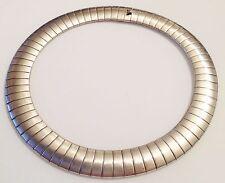 collier tour de coup vintage métal argenté maille plate large top qualité 344