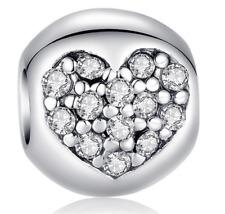 DIY Fashion Heart European CZ Charm Crystal Spacer Beads Fit Necklace Bracelet