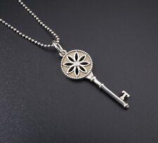 "Auth Tiffany & Co Sterling Silver Daisy Key Diamond Pendant Necklace 16"" NS1067"