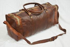 "Men'S Genuine Leather Large Vintage 24""Duffle Clothing Space Travel Luggage Bag"