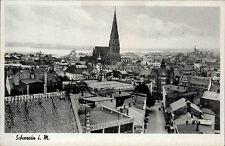 Schwerin alte Postkarte ~1930/40 Gesamtansicht Dom im Hintergrund Straßenpartie