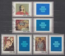 POLAND 1971 USED SC#1839/45+B123+ labels, Stamp Day - Woman in Polish painting.
