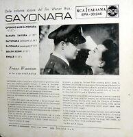 "OST EP SAYONARA SAKURA SAKURA + 5 MARLON BRANDO 7"" RCA ITALIANA  1958"