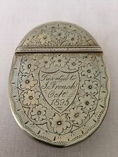Beautiful Antique Victorian Engraved Silver  Snuff Box dated 1895