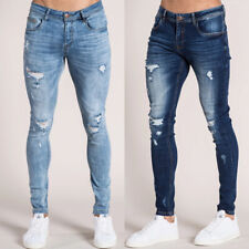 Mens Stretch Ripped Skinny Jeans Distressed Frayed Slim Fit Denim Pants Trousers