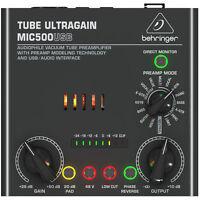 New Behringer TUBE ULTRAGAIN MIC500USB Vacuum Tube Preamp Auth Dealer Make Offer