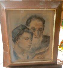 Rabbi & Student Pastel Painting-1950-Bernard Gussow- Great Frame