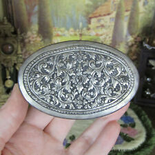 Antique Miniature SILVER CHEST Victorian? Vtg Marked Dollhouse Trunk Jewelry Box