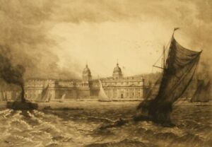 David Law signed original etching; The Thames, Greenwich, London,1885