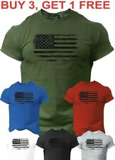USA Distressed Flag T Shirt Patriotic American Army Tee Shirt size S 4XL
