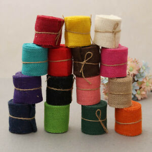 2M/Rroll 6cm DIY Ornament Natural Jute Burlap Hessian Ribbon Wedding Party Decor