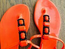 Casadei Italy Orange Embellished Jelly Thong Jeweled Sandal - 38 EU - 8 US