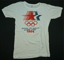 Rare Vintage FAJER Official Los Angeles Olympic Games 1984 T Shirt 80s White 44