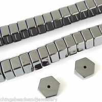 16 Inch Gemstone Hematite 8x4mm Hexagonal Spacer Beads