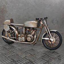 XL Blechmodell Motorrad 30cm silber Metallmodell Rennmaschine Rennsport Oldtimer