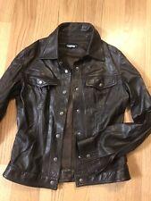 Prandina 40 Brown Leather Jacket Moto Coat Italy Long Sleeve Dark