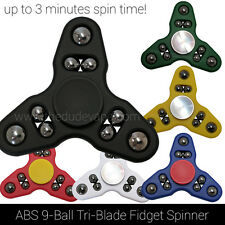 Fidget Spinner Toy | ABS Triangle Hand Spinner | 9-Ball | 3 Min Spin | Black