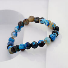 8mm Natural Stone Blue Beads Yoga Reiki Men's Bracelets Jewelry Birthday Gift
