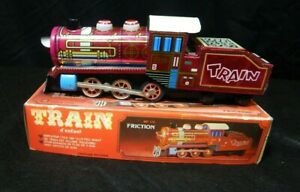 BATTERY OPERATED FRICTION TRAIN MF 170 TIN LITHO LOCOMOTIVE ORIGINAL BOX CHINA
