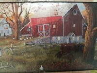 Tempered Glass Cutting Board Country Farm Barn Heat Resistant Country Side New