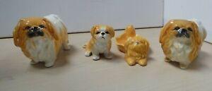 4 Vintage Sylvac Pekingese Dog Ornaments 3165 2438 G338 C21