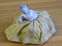 Beautiful Vintage Porcelain Half Doll Pin Cushion HD7