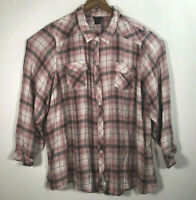 Torrid Women's Size 5 Plus Plaid Pink /Gray Button Front Long Sleeve Shirt Tunic