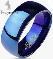 SIZE X -  Men's Highly Polished Blue 8mm Wide Dome Band Ring