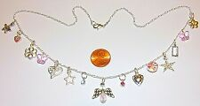 "ANGEL, HEART, FLOWER CHARM NECKLACE-BUTTERFLIES, STAR, CRYSTAL-20""-15 DROPS-#842"
