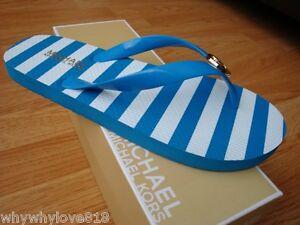 NEW Women MICHAEL Michael Korset Set Rubber Flip Flop Stripe SUMMER BLUE 6
