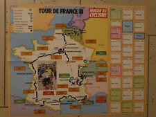 """TOUR DE FRANCE 1981  Carte du Parcour  """"Miroir du Cyclisme"""""""