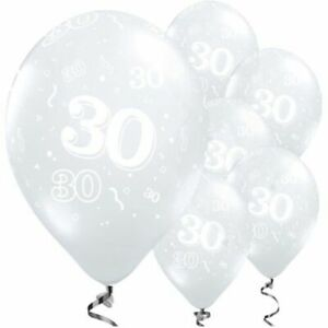 """30th Ages Clear 11"""" Latex Birthday 6pk Balloons Helium Quality"""